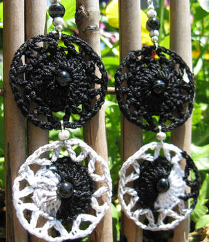 Crochet Earrings, pattern 2, little black dress by doilydeas