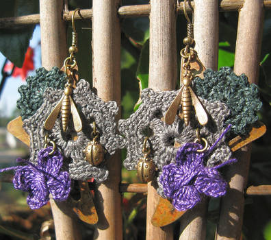 Steampunk crochet earrings by doilydeas