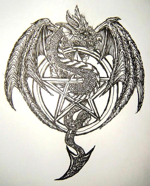 dragon pentagram design by crash0and8burn on deviantart. Black Bedroom Furniture Sets. Home Design Ideas