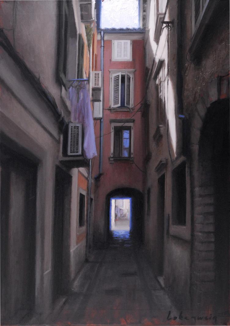 Old street oil sketch by RLoben
