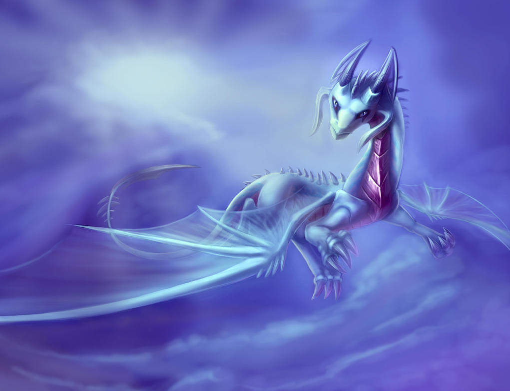 Icy-wind Dragon commission. by zilvart
