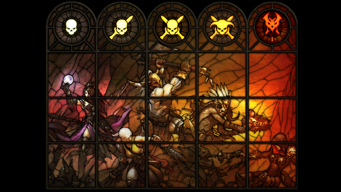 Diablo Difficulty Stained Glass By Chalis Maximus