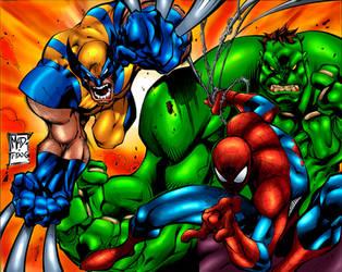 Spiderman,Wolverine and Hulk by ultramegahyperbeam