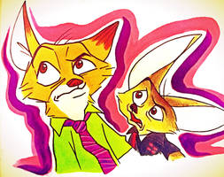 Nick and Finnick Doodle by AlexandraBowmanArt