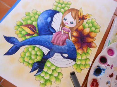 zepol Orcas watercolor by Zepollita