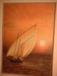 Sunset Ship coloured pencil by ingrid
