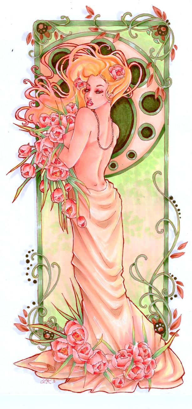 Art Noveau Peony by Faerytale-Wings