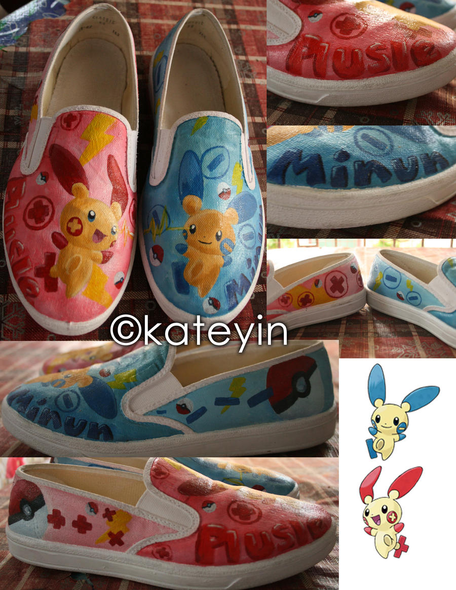 plusle and minun  shoes by pusangmaharot