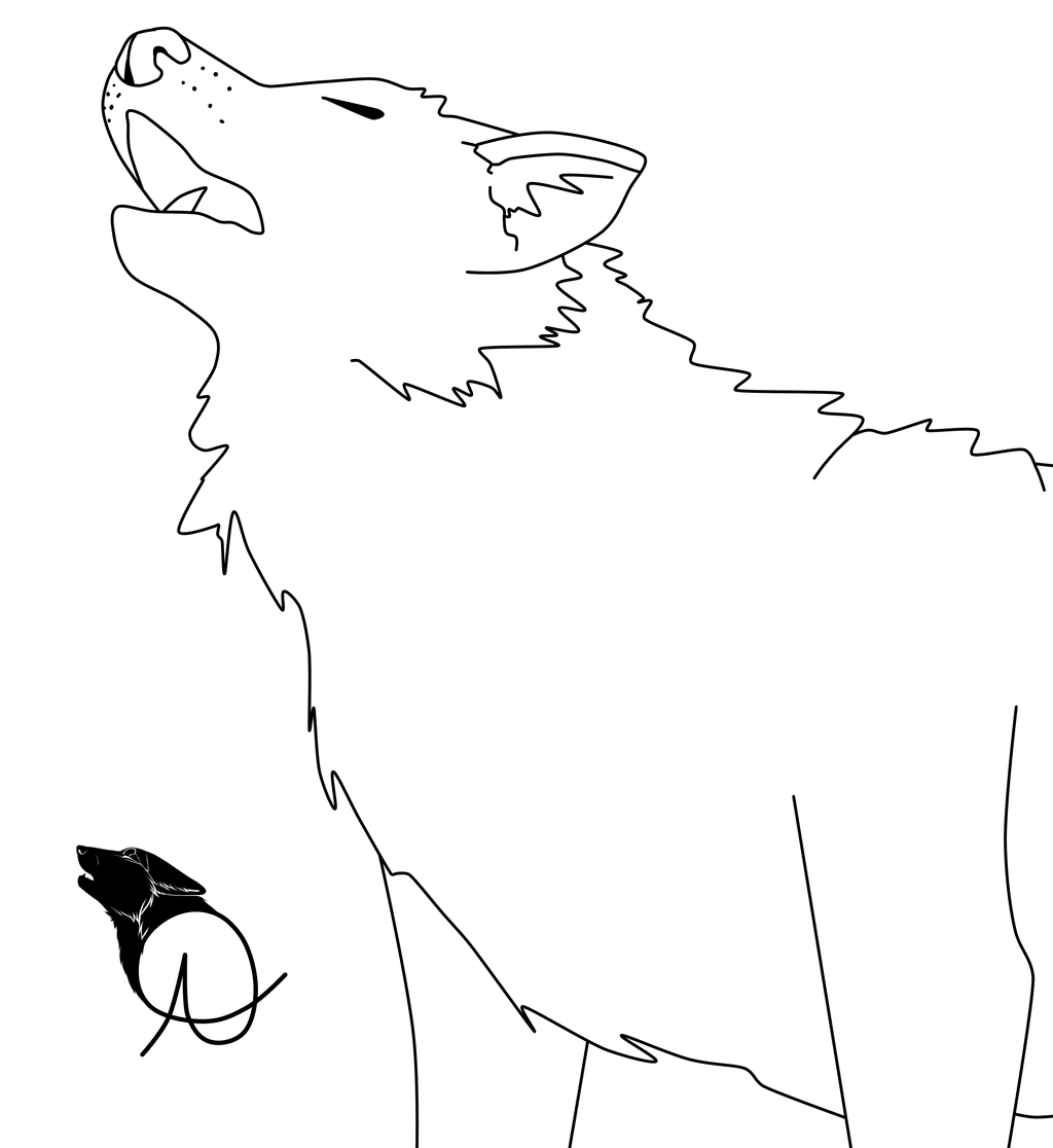 Wolf Howl Line Art by Howling Wolf Lineart