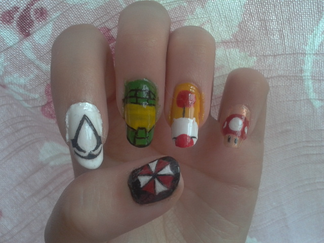 Gamer nails by aeleis on deviantart gamer nails by aeleis prinsesfo Images