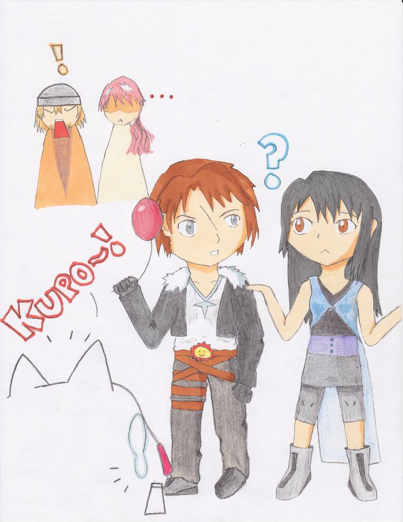 Squall, Rinoa, and the Moogle by KonataSuzumiya