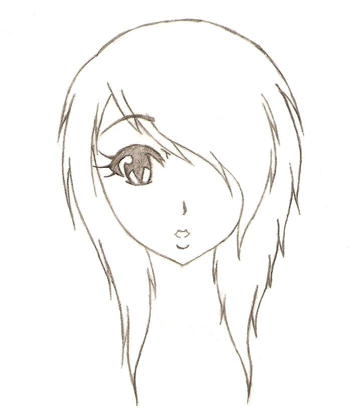 Emo girl hair kota by darkshadowprince on deviantart for Cool easy anime drawings