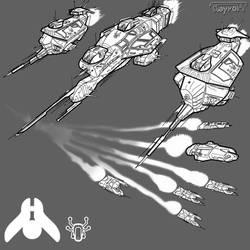 Art concept - Hiigaran ships by Kayrom