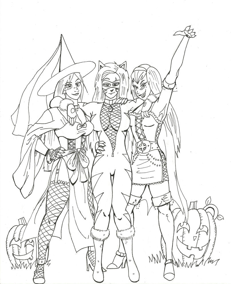 Line Art Halloween : Belated halloween line art by streetknights on deviantart