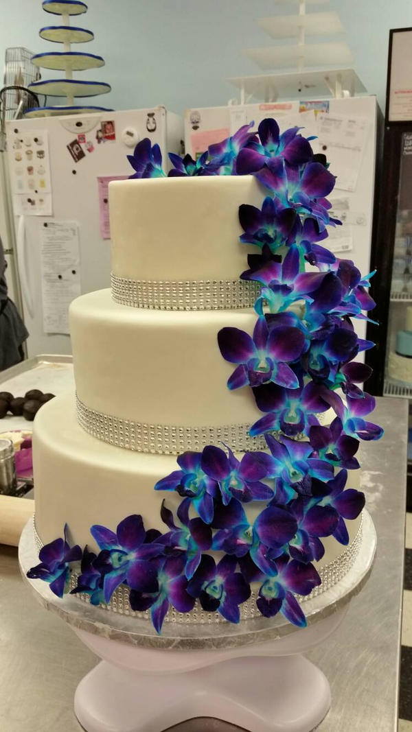 Blue And Purple Orchid Wedding Cake Cake Recipe