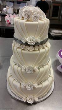 Folded fondant draping cake