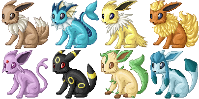 Pixel Eeveelutions by armaina