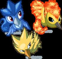 Pokemon Ranch Legendary Birds by armaina