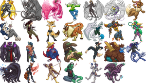 Pixel Character Collection by armaina