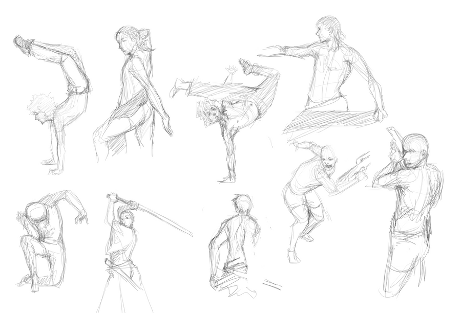 Gesture drawing practice by kalcedonyx