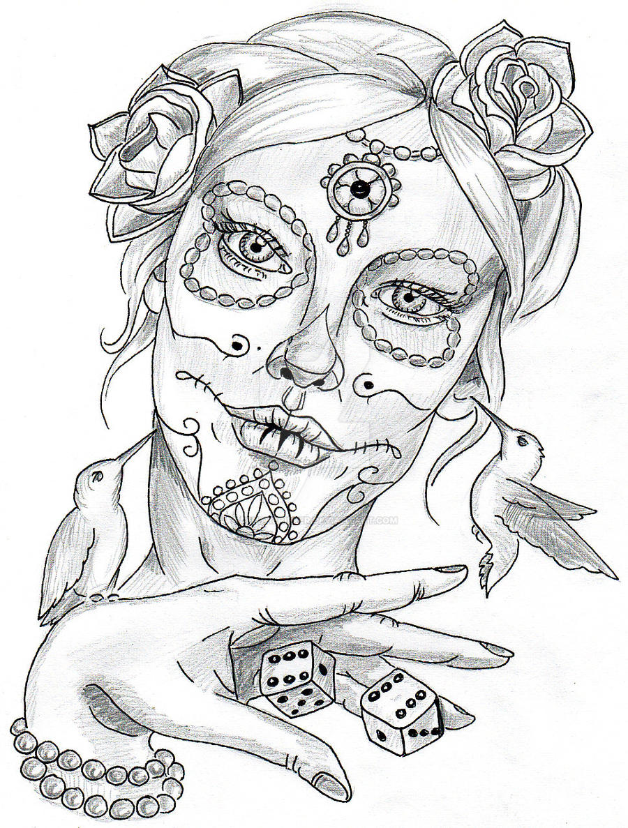 Tattoo Line Drawing Software : La catrina by jentheripper on deviantart