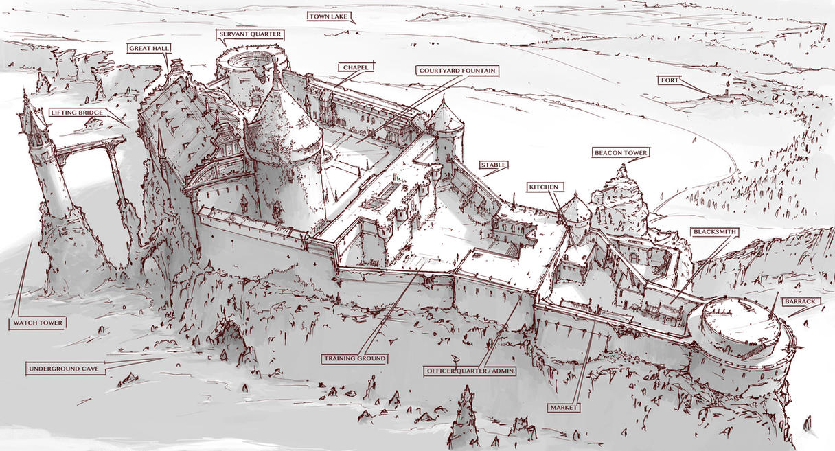 Town design abandoned castle on the cliff by alantsuei for Castle design