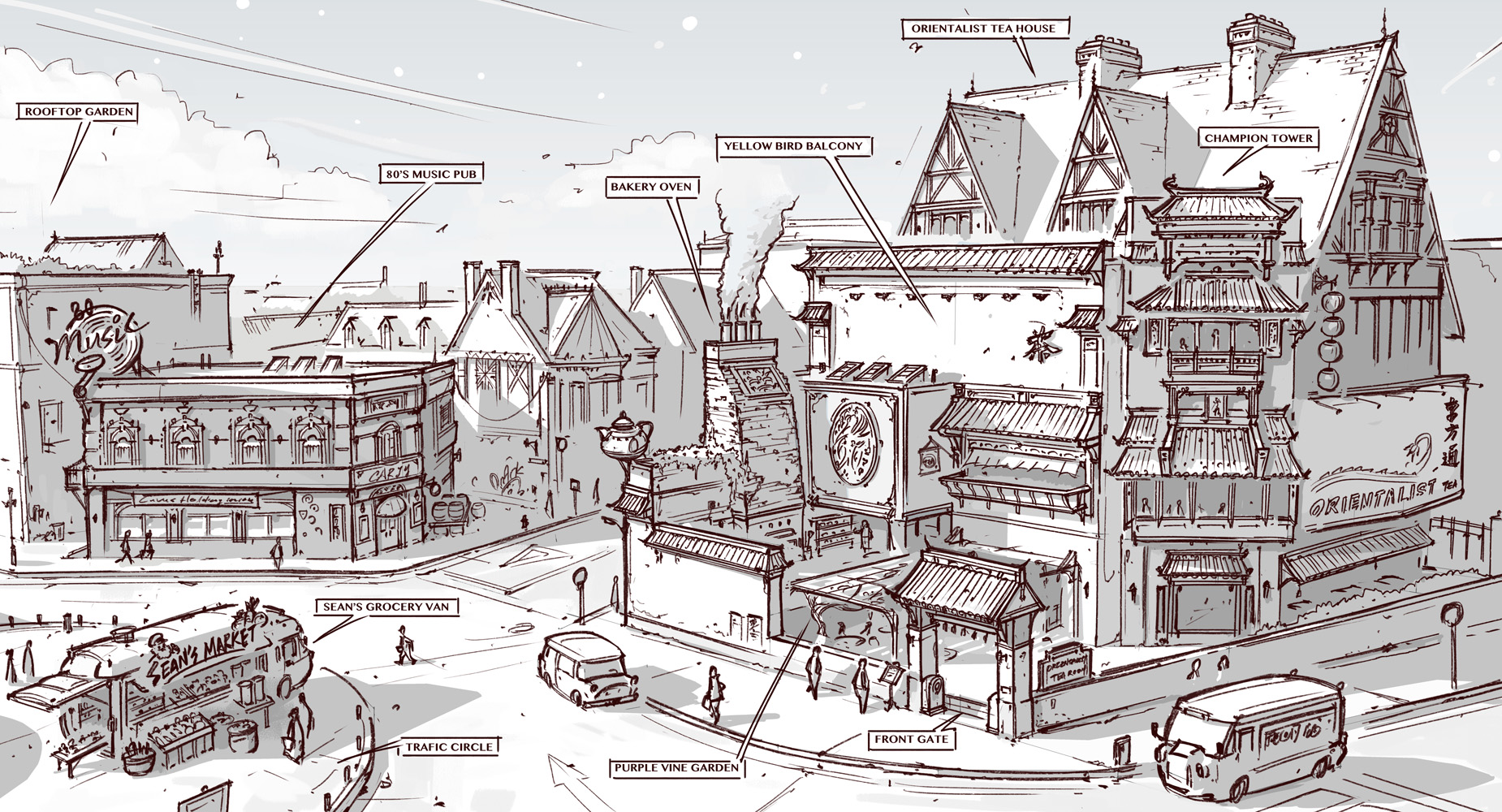 Town Design - Tearoom, music pub and vending van by alantsuei