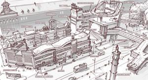 Town Design - Apartment complex, Community center by alantsuei