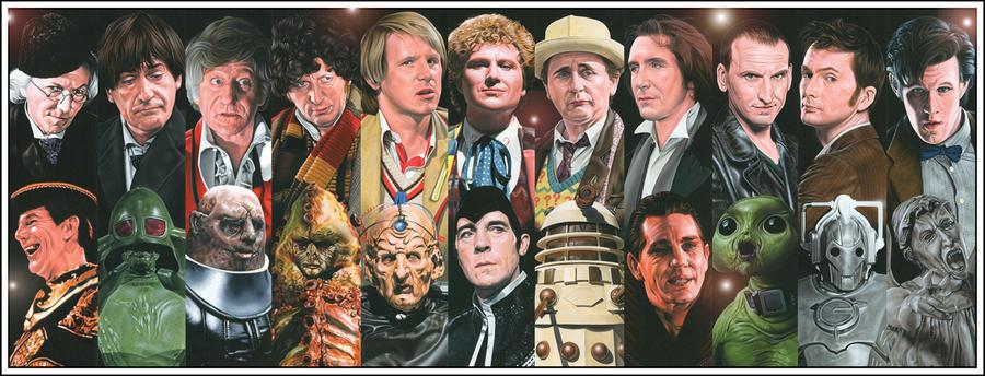 Doctor Who-Drs + Enemies by caldwellart
