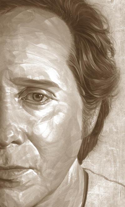Self-Portrait (sepia study). by caldwellart