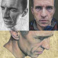 Three paintings of Carl. by caldwellart