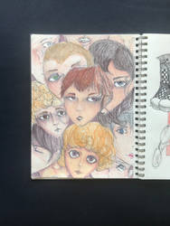 a bunch of disembodied heads by frogwithapencil