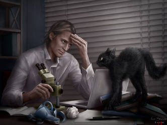 Von Rached and his cat