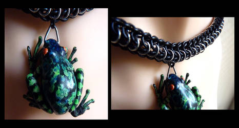 Black, Green, Blue, Orange Frog Necklace by Divulged
