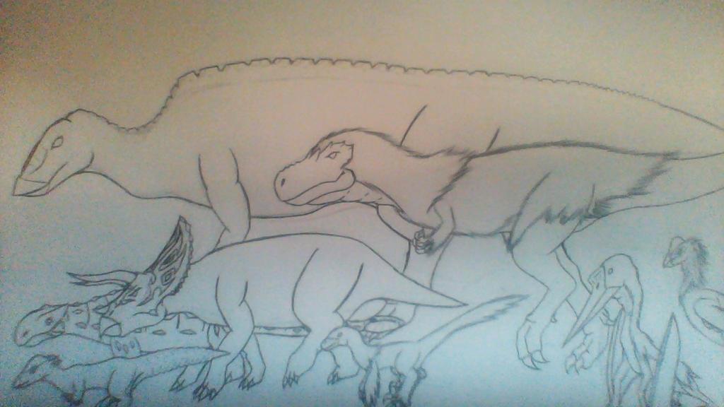 Saurian dinosaurs by Evodolka