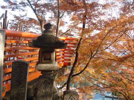 Orange leaves, orange shrine by Ekuboryu