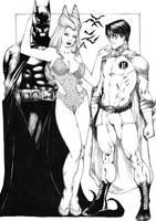 Batman Poison Ivy Robin by kaloy-costa