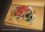 Rose in skull