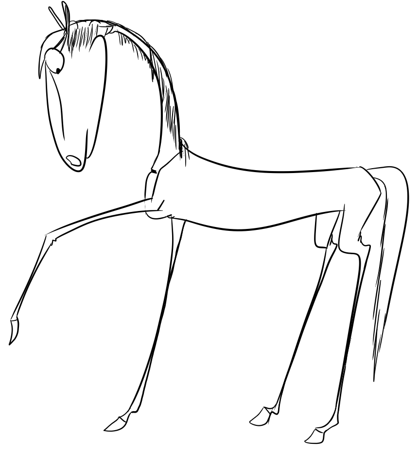 Easy realistic horse drawing