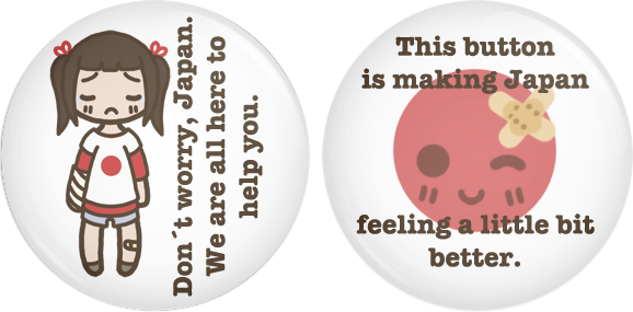 'Helping Japan' Button Set by PumpkinCoocie