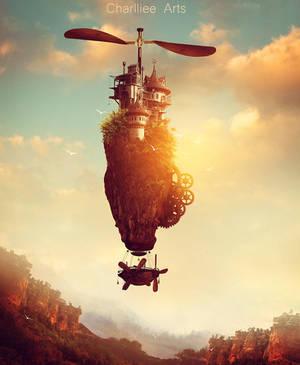 Steampunk Island by CharllieeArts