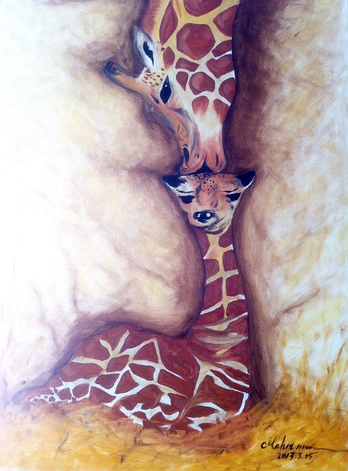 Colorful Giraffe Paintings Giraffe Oil Painting by