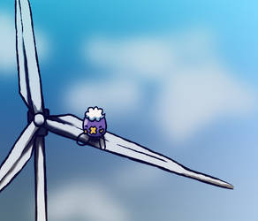 Drifloon on a Wind Turbine by MidoriFlygon