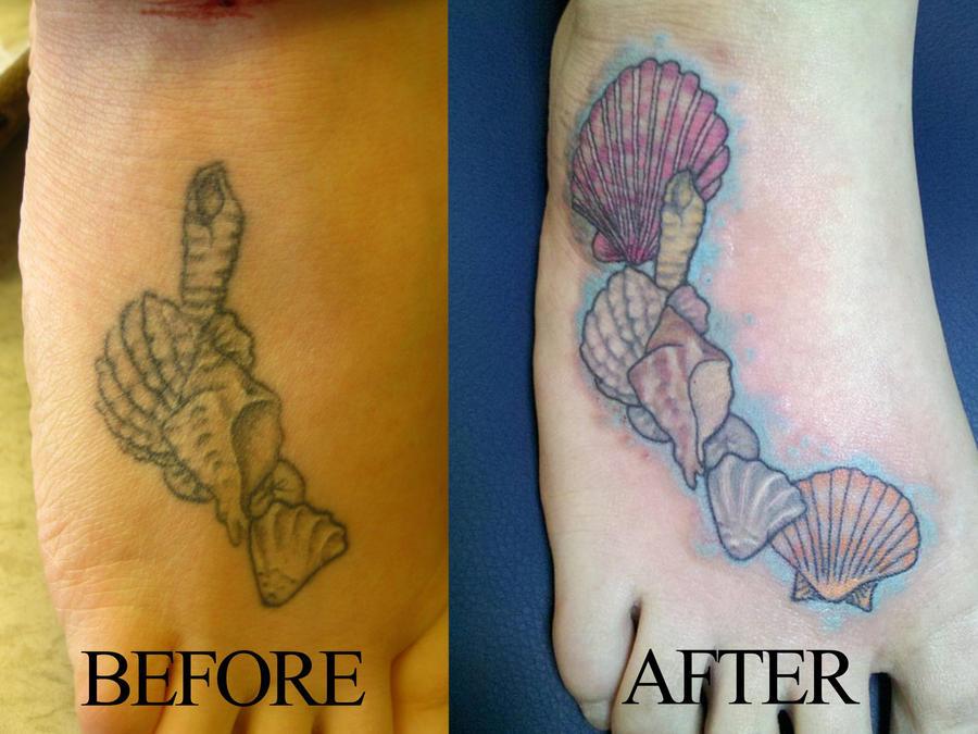 Seashell tattoo on foot seashell tattoo on foot