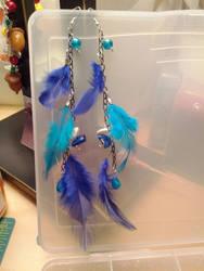 Feather earrings- blue by StarbitJewels