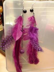 Feather earrings- long purple by StarbitJewels