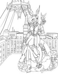 Steampunk Bunny Alita - Easter 2019 Lineart