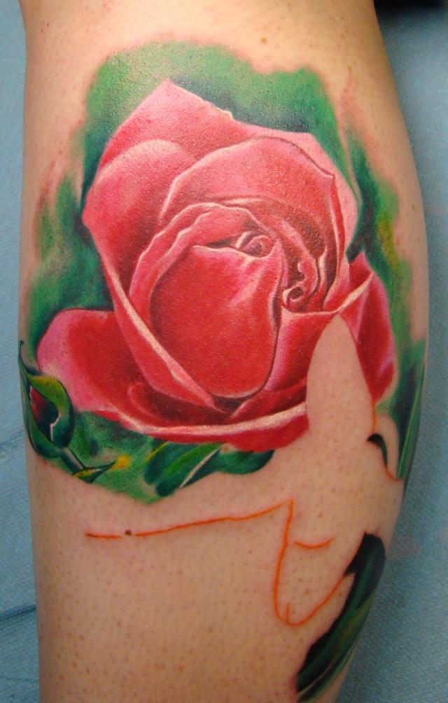 flower leg session 1 - flower tattoo