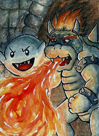 Bowser and Boo [ACEO] by Vhalesa