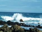 Black rock beach in Hawaii